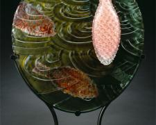 """Submergence, 2005, painted, blown, etched, sandcarved, 22 x 18 1/2 x 6"""""""