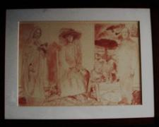 Study - Large Triptych - Madonna and Child, 1991, conte on paper, 17 3/4 x 25 3/4""