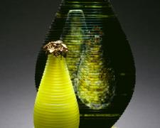 Bilious Bees, 2008, painted, blown, etched, sandcarved, 16 x 12 x 7 1/2""