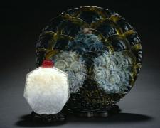 Emanation, 2005, hand-blown, sand-blasted, acid-etched, painted glass, 10 1/2 x 15 x 5""