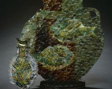 Green Parrot Fish, 2005, hand-blown, sand-blasted, acid-etched, painted glass, 16 x 17 x 10""