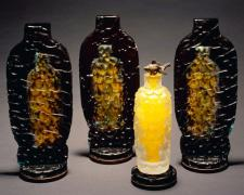 Sunflower Fish, 2005, hand-blown, sand-blasted, acid-etched, painted glass, 10 1/2 x 15 x 5""