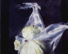 Suspended Lettuce, 1999, acrylic on paper, 16 3/4 x 12 3/4""