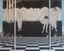 Otis Lumpkin by Aubrey Beardsley by Otis Lumpkin, 2008, oil on canvas, 36 x 72 1/2""