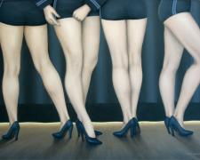 Waiting for the Curtain, 2007, oil on canvas, 30 x 40""