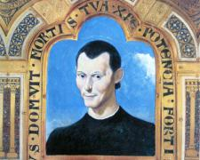 Saint Machiavelli, 2008, collage, acrylic on paper, 8 1/2 x 8""