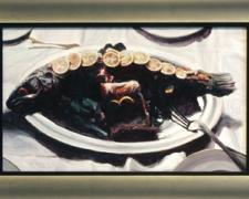 """Mandorla, 2004, acrylic on panel, 10 1/2 x 17"""""""