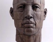 "Cabeza Cuadricula, 2009, bronze, 31 1/2 x 19 7/10 x 22"""
