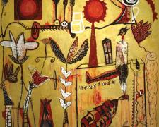 "Lethia Puzzle #3 2005 Acrylic with mixed media on wood 48 x 48"""