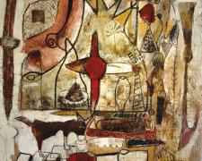 "Lethia Puzzle #5 2005 Acrylic with mixed media on wood 48 x 48"""