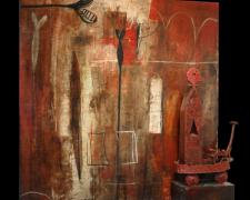"""Lethia Puzzle #7 2005 Painted terra cotta with mixed media and sculpture 48 x 48"""""""