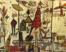 """Mapmaker #12, 2010, mixed media and oil on panel, 24 x 48 x 4"""""""