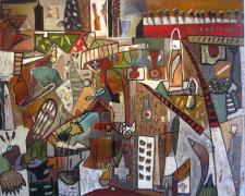 """Mapmaker #5, 2009, mixed media and oil on panel, 48 x 60 x 3"""""""