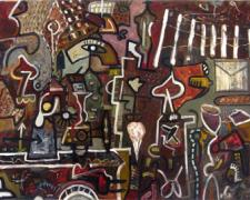 """Mapmaker #7, 2010, mixed media and oil on panel, 25 x 48 x 4"""""""