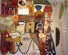 """Vortext Series #2 2005 Oil painting with mixed media on wood 49 x 58"""""""
