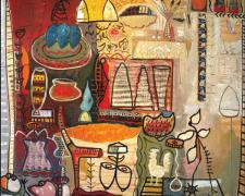 Vortext Series #5 2005 Oil painting with mixed media on wood 48 x 56""
