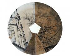 """Symmetry, 2014, mixed media, 16 x 16"""""""