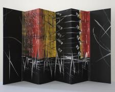 "night confessions, 2013, monotypes assembled into a concertina structure, 5 x 14"" closed / 14 x 21"" open"