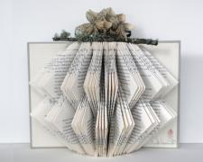 flora and fauna, 2013, repurposed book sculpture, paper origami flowers, ribbon, found garden stick, PVA, 10 x 11 1/2 x 8""