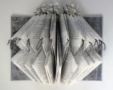 legends, 2013, repurposed book sculpture, paper origami flowers, hand stitched with embroidery thread, PVA, 11 x 8 1/2 x 6""