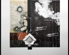 "in silence, 2013, monotype collage composition with origami stitched insert, f.s. 20 x 16"" / i.s. 11 1/2 x 6"""