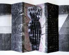 "stasis, 2012, monotypes, ink brush painting folded, assembled into concertina structure, 17 3/4 x 5 3/4"" closed / 17 3/4 x 33"" open"