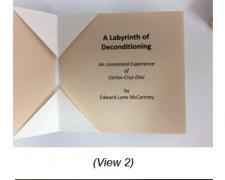 A Labyrinth of Deconditioning, 2013, folded pocket book with slipcase, inkjet print on paper, 4 x 4 x 1 5/8""