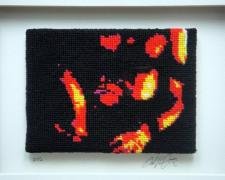 "Baton Rouge, 2012, series ""Not Your Mother's Needlepoint"" yarn painting, cotton embroidery floss on petite pointe canvas, f.s. 10 x 8 x 1 1/2"" / i.s. 3 x 4 1/2"""