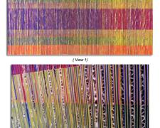 """Chromatic Interference, 2013, colored paper, cardboard, illustration board, 48 x 24 x 1 1/2"""""""