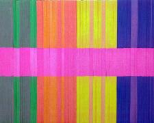 Spectrum Stripe (Fuchsia), 2013, linear collage stacked paper, wood, aluminum, 14 x 11 x 1""