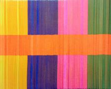Spectrum Stripe (Orange), 2013, linear collage stacked paper, wood, aluminum, 14 x 11 x 1""