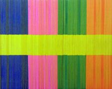 Spectrum Stripe (Yellow, Orange, Green, Pink, Blue), 2013, linear collage stacked paper, wood, and aluminum, 14 x 11 x 1""