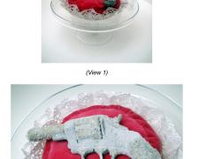 "Sugar Coated, 2013, series ""Preserves"", gun: Forehand and Wadsworth ""The American"" nickel plated double action revolver, egg white, sugar, velvet cushion, doilies,13 x 14 x 13"""