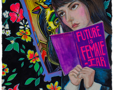 "The Future is Female-iar, 2017, gouache on paper, p.s. 7 1/2 x 7 1/2"" / f.s. 15 5/8 x 14 7/8"""
