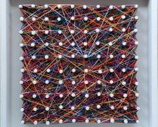"""y mi voz que madura, 2021, various colored embroidery cotton string on handbuilt wood frame with pegs, 12 x 12"""""""