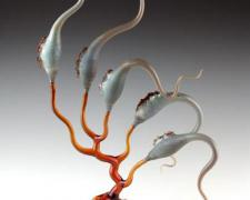 Elephant Pods (Organism Series), 2005, lampworked, borosilicate, sculpted, blown, oil-painted glass, 24 x 8 x 7""