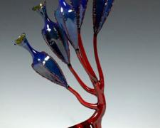 Ruby Podtree (Organism Series), 2005, lampworked, borosilicate, sculpted, blown, oil-painted glass, 16 x 8 x 5""
