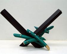 Around Midnight, 1999 painted steel, copper tubes, silicon bronze 18 x 28 3/4 x 15""