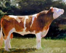 The Bull in the Garden of Minos, 2004, acrylic on paper, 10 x 18""