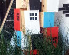 Box City 2013 acrylic on discarded wine boxes in varying dimensions
