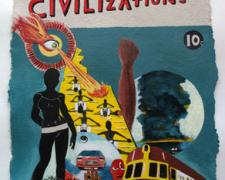 Dialogues of Civilizations, 2011, acrylic on handmade paper, 20 x 1/2 x 14""