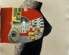 """Girl With Babel Tattoo 2010 oil on handmade paper 29 3/4 X 22 1/4"""""""