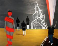 "Pruitt Summons Truth 2013 acrylic on canvas 48 x 48"""