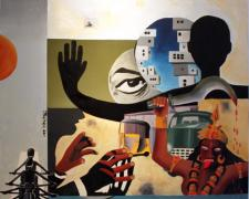 "Street Prophet 2011 acrylic and oil on linen 40 X 36"""