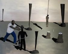 "Trenton Fights 2013 acrylic on canvas 40 x 48"""