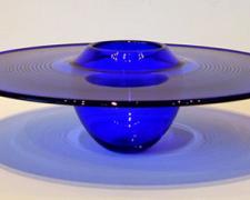 """Cobalt Blue Interior Fold Platter, 2007, blown, 4 1/2 x 13 1/2"""" (diameter)"""