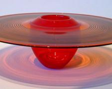 "Selinium Red Interior Fold Platter, 2007, blown, 5 x 15"" (diameter)"