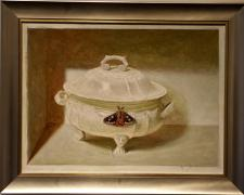 Casserole with Emperor Moth, 2005, acrylic on panel, 15 x 20""