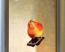 Moth Devouring a Pear, 2004, acrylic on panel, 14 x 10""