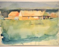 "141002 nani mari, 2014, watercolor, p.s. 9 x 12 1/8"" / f.s. 13 1/4 x 16 1/8"""
